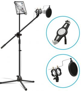 Anko 2-in-1 Adjustable Mic Stand with iPad Holder/Pop Filter